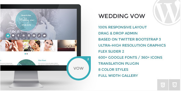 Wedding vow - Responsive WordPress Theme