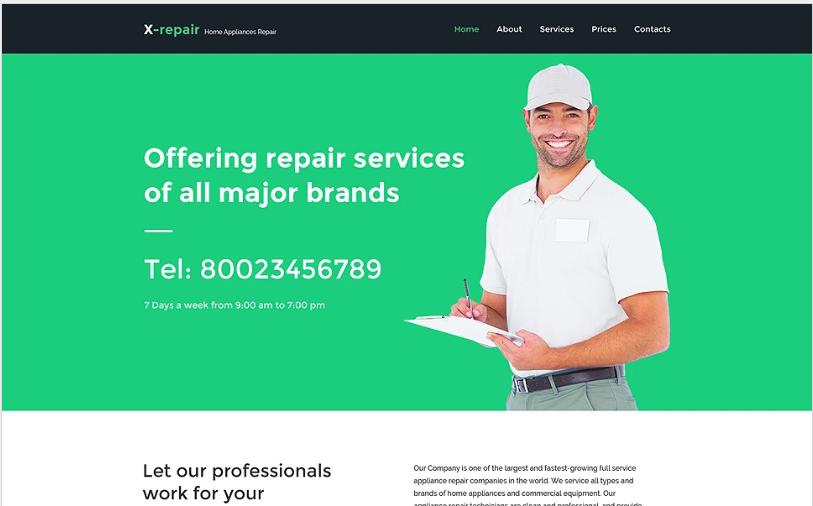 X repair Website Template