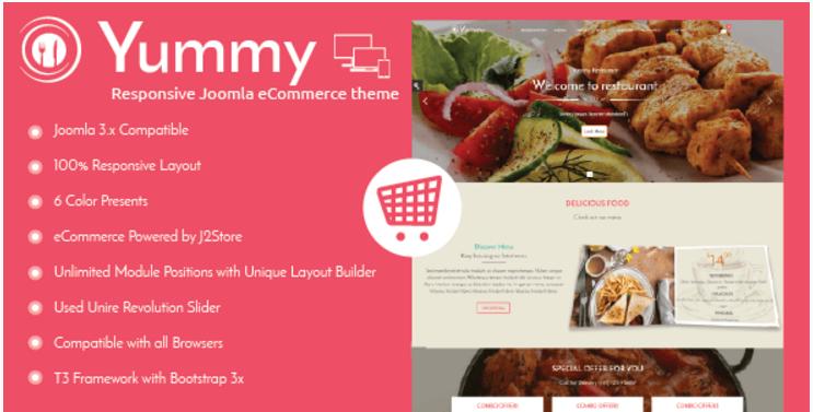 Yummy - Responsive Joomla Restaurant Template