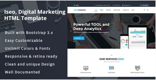 iSeo, Digital Marketing, Social Media HTML Template