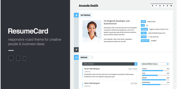 vCard Responsive HTML Template