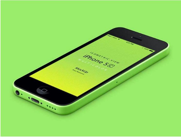 3D Perspective iPhone 5C Green Mockup