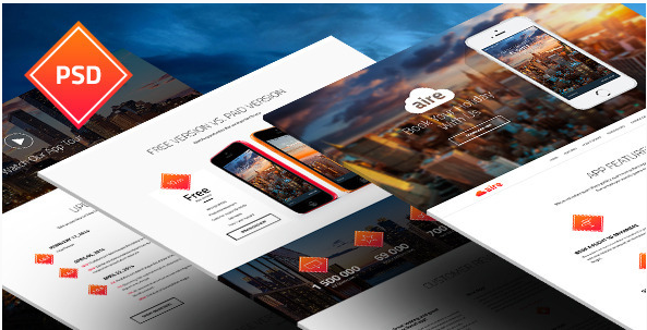 Aire - App Landing Page PSD Template