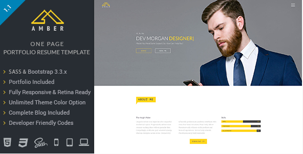 Amber - One Page Portfolio Resume Template