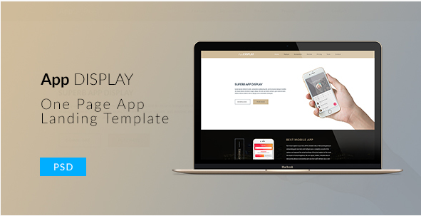 App Display | One Page App Landing PSD Template