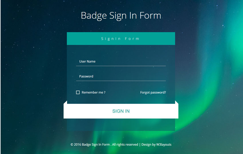 Badge Sign In Form Flat Responsive Widget Template