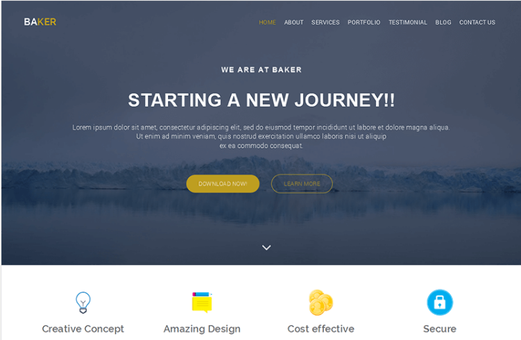 Baker – Free Onepage Bootstrap