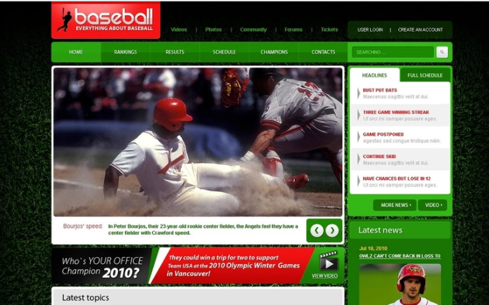 Baseball PSD Template