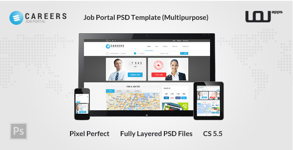 CAREERS - Job Portal PSD Template (Multipurpose)