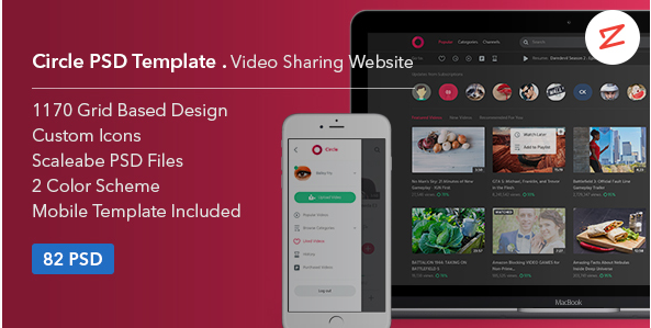 Circle: Video Sharing Website PSD Template