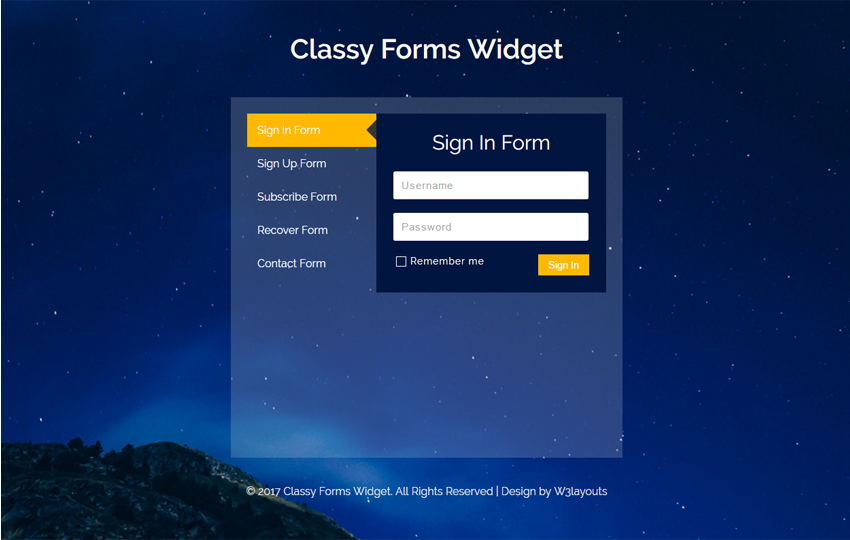 Classy Forms Widget a Flat Responsive Widget Template