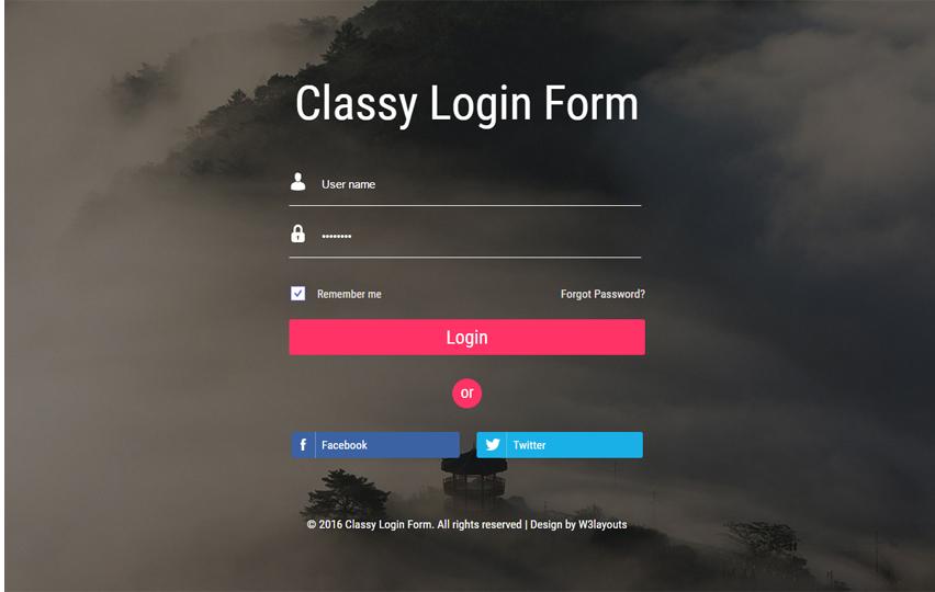 Classy Login form Widget Flat Responsive Widget Template
