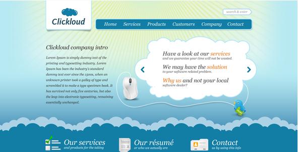 Clickloud Web 2.0 Software Company PSD Design Templates