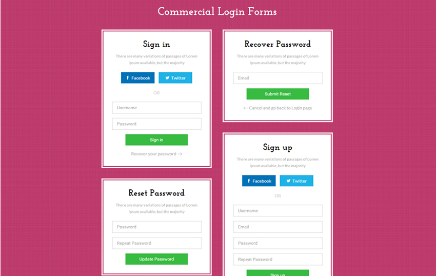 Commercial Login Forms Flat Responsive Widget Template