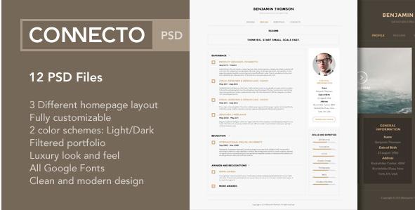 Connecto – Modern vCard Resume PSD Template