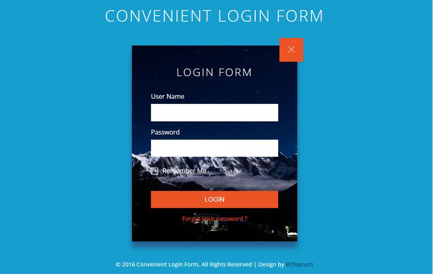 Convenient Login Form Flat Responsive Widget Template