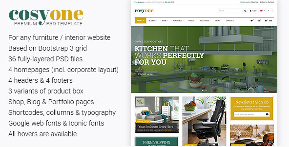 CosyOne - Premium Furniture/Interior PSD Template