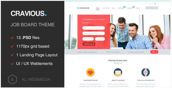 Cravious - Job Portal PSD Template