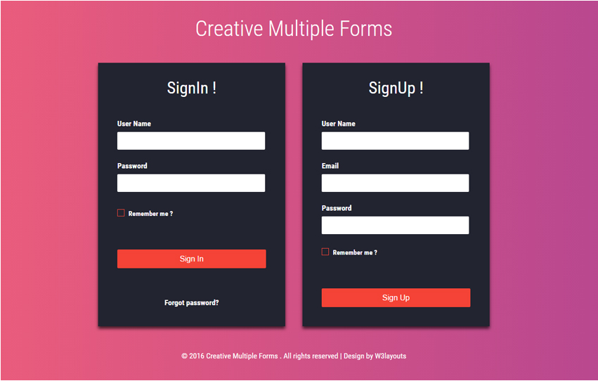 Creative Multiple Forms Flat Responsive Widget Template