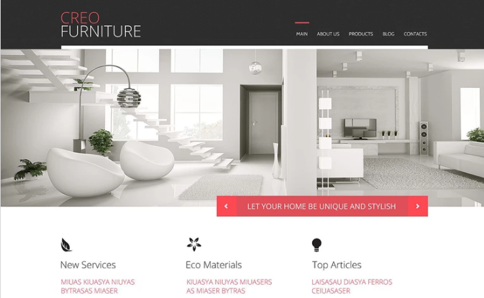 Creo Furniture PSD Template