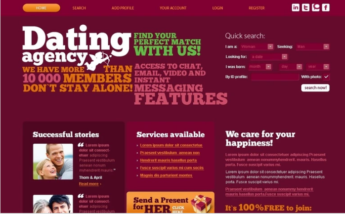Dating PSD Template
