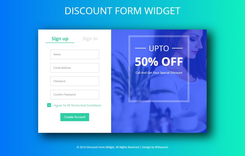 Discount Form Widget A Flat Responsive Widget Template