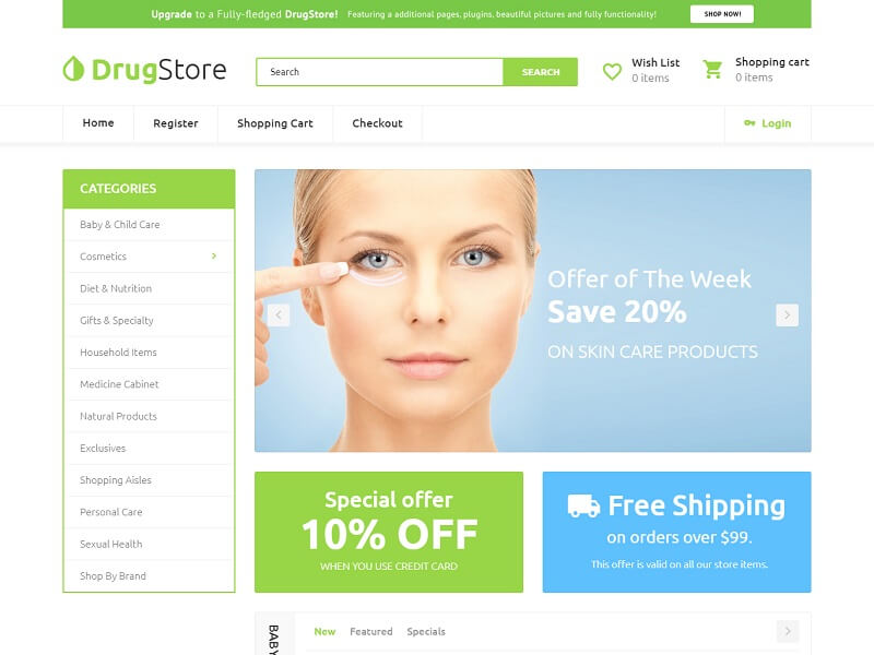 drugstore Free OpenCart Themes