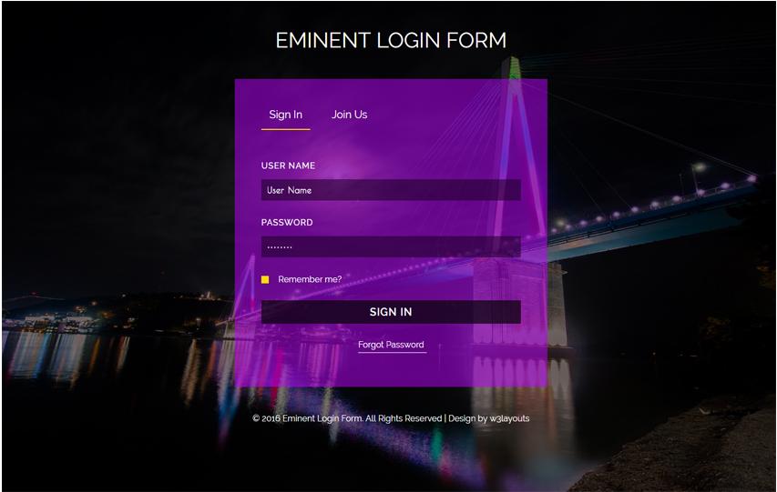 Eminent Login Form Flat Responsive widget Template