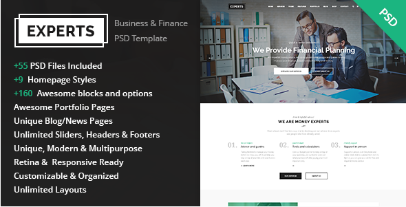 Experts - Business and Finance PSD Template