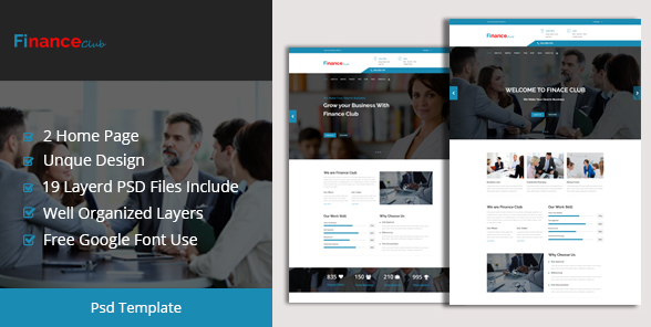 Finance Club Finance & Business PSD Template