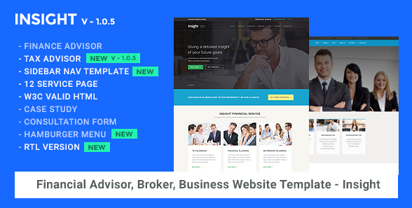 Financial Advisor, Consulting, Business Website Template - Insight