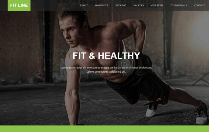 Fit Line Fitness Gym Free Bootstrap Web Template
