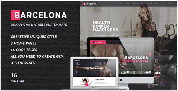 Fitness & Healthy Center PSD Template - Barcelona