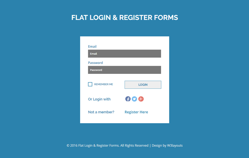 Flat Login And Register Forms A Flat Responsive Widget Template