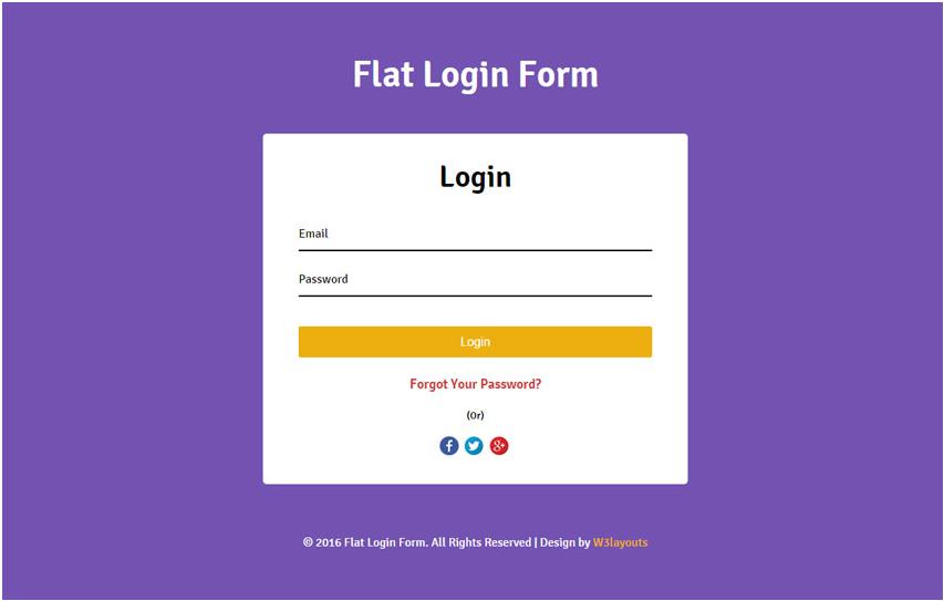 Flat Login Form Widget Flat Responsive Widget Template