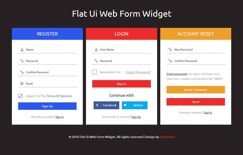 Flat Ui Web Form Widget Flat Responsive Widget Template