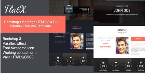 FlatX - Bootstrap Onepage Parallax Resume Template