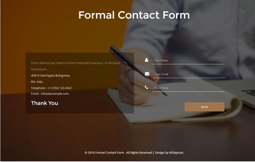 Formal Contact Form a Flat Responsive Widget Template