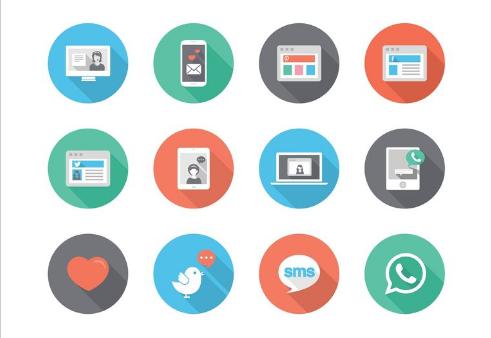 Free Social Media Flat Vector Icons