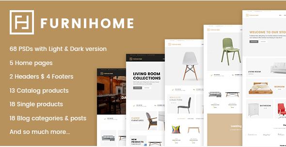 Furnihome - E-Commerce PSD Template for Furniture Store