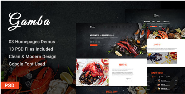 Gamba - Food & Restaurant PSD Template