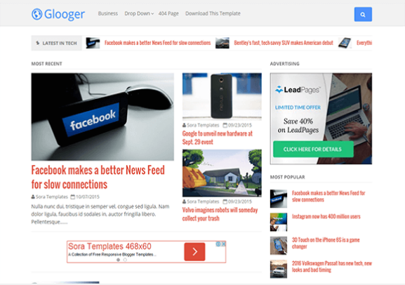Glooger-Free Blogger Template