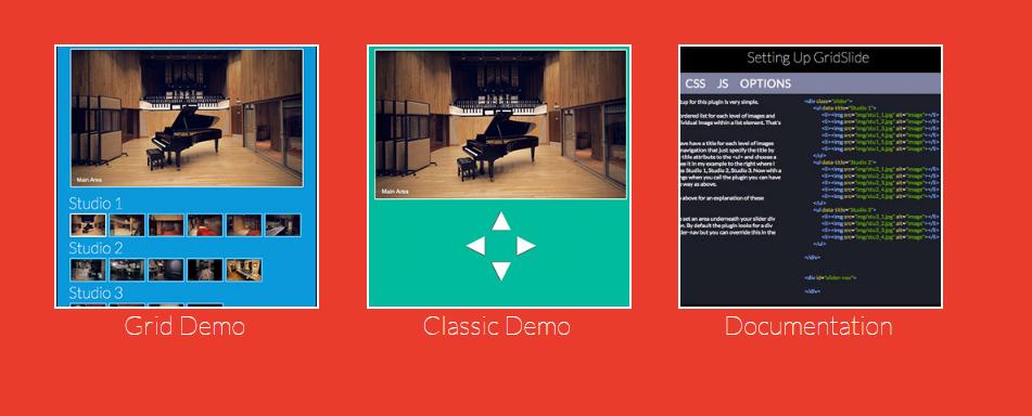 Gridslide.js jQuery multidirectional Image Slider plugin
