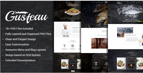 Gusteau – Elegant Food and Restaurant PSD Template
