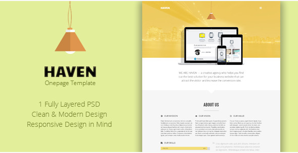 Haven - Onepage PSD Template