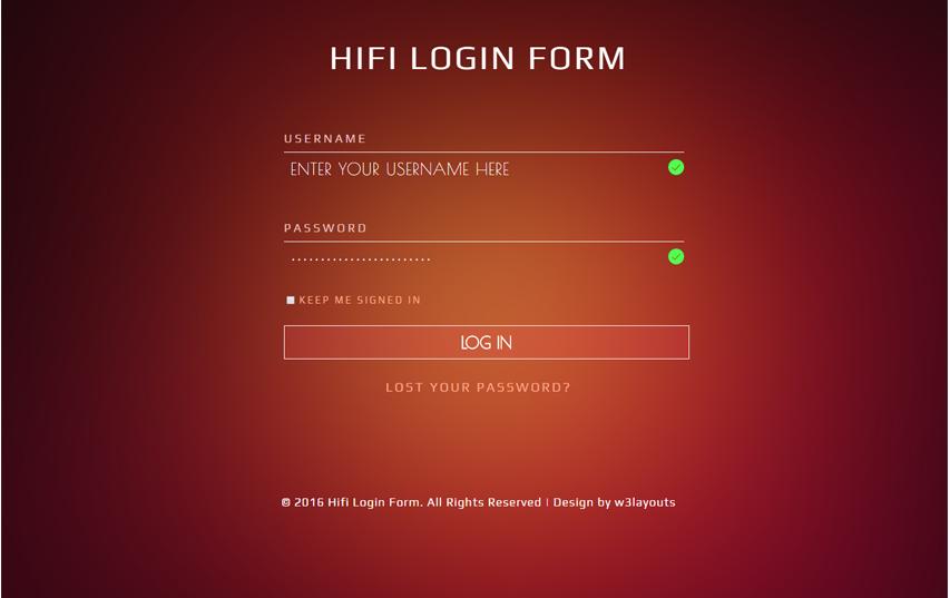 Hifi Login Form Flat Responsive widget Template
