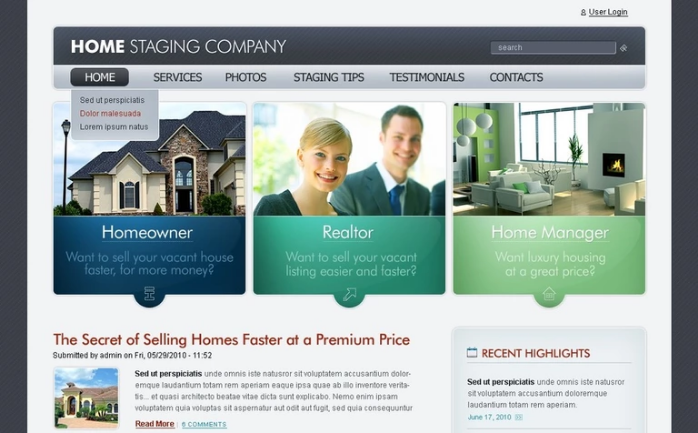 Home Staging Real Estate PSD Design Templates