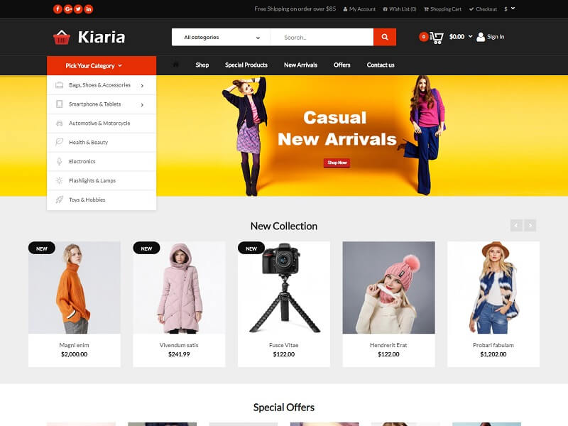 Kiaria best free open cart theme