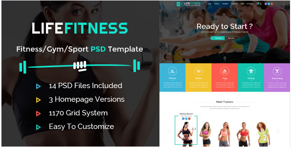 Best Fitness PSD Design Templates