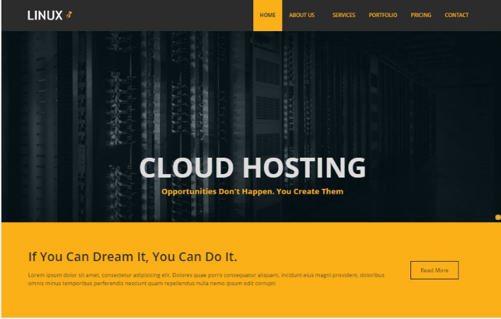 Linux Web Hosting Bootstrap Template